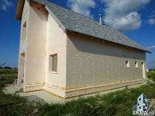 Утепление газобетонного дома пенопластом (ППС), нанесение силикатной декоративной штукатурки Атлас