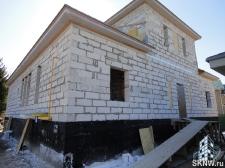 Утепление газобетонного дома минеральной базальтовой ватой, нанесение силикатной декоративной штукатурки Атлас